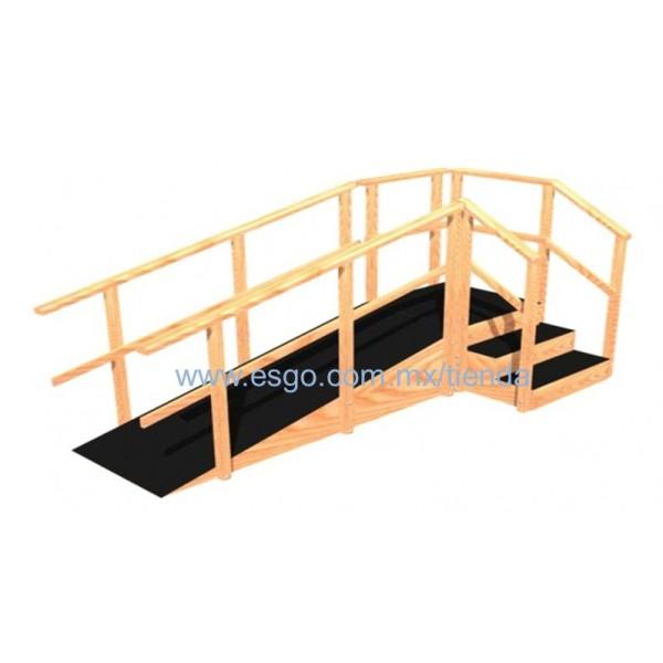 Escalera de 3 pelda os y rampa angular de madera adulto - Peldanos de madera para escalera ...